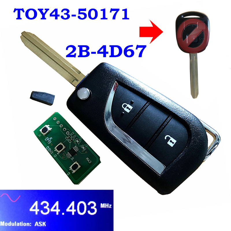 For <font><b>Toyota</b></font> <font><b>Avensis</b></font> Prado 120 RAV4 Kluger 2 <font><b>Button</b></font> Upgraded Flip <font><b>Remote</b></font> Car <font><b>Key</b></font> Fob 433MHz 304.2Mh 4D67 4C Chip 50171 60030 60081 image