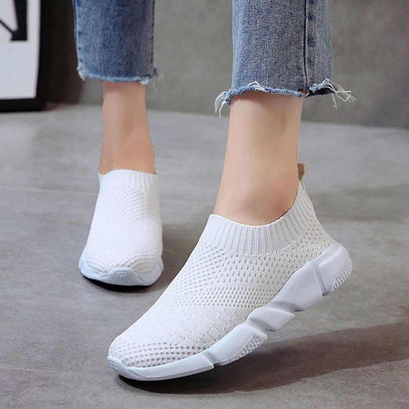 Frauen Schuhe 2019 Neue Flyknit Turnschuhe Frauen Atmungs Slip Auf Flache Schuhe Weichen Boden Weiße Turnschuhe Casual Frauen Wohnungen Krasovki