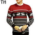 2016 Autumn Striped Sweater Men Long Sleeve Slim Fit knitting Dear Christmas Sweater Casual Basic Pullover Pull Homme #161576