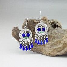 Blue Butterfly Round 999 Sterling Silver Drop Earrings For Women Cloisonne Enamel Earing Handmade Ethnic Miao Jewelry