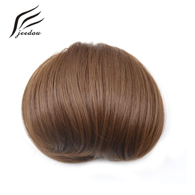 jeedou Syntetisk Hår Hög Temperatur Fiber Chignon Blond Brun Färg - Syntetiskt hår - Foto 4