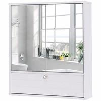 Giantex Bathroom Cabinet Double Mirror Door Wall Mount Storage Wood Shelf White Modern Bathroom Furniture HW57021