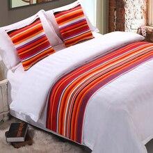 RAYUAN красочное Полосатое постельное белье двухслойная кровать бегун бросок украшения для гостиницы постельные принадлежности одна королева король постельное белье