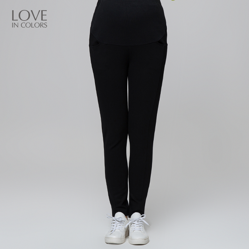 Loveincolors Maternity Women Slim Knitted Trousers Thick Soft Warm Line Pregnant Clothes