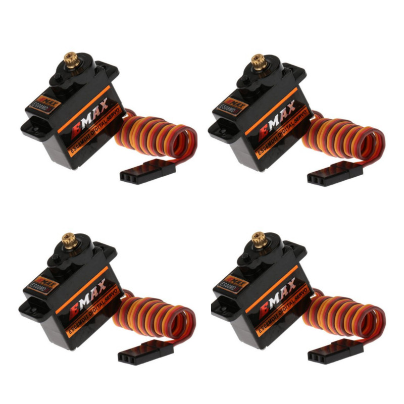 4PCS Emax ES08MDII ES08MD 9g Metal Digital Micro Servo for RC 250 450 Helicopter Airplane Car Boat Robot Toy image