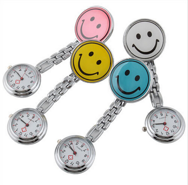 100pcs lot 10 colors Doctor Metal Stainless Nurse Medical Smile Face Watch Watches With Clip Pocket