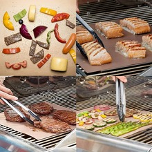 Grill Mat 100% Non-stick BBQ Grill & Baking Mats Gold and Black 13in*15.7in Works on Gas, Charcoal, Electric Grill and More цена и фото