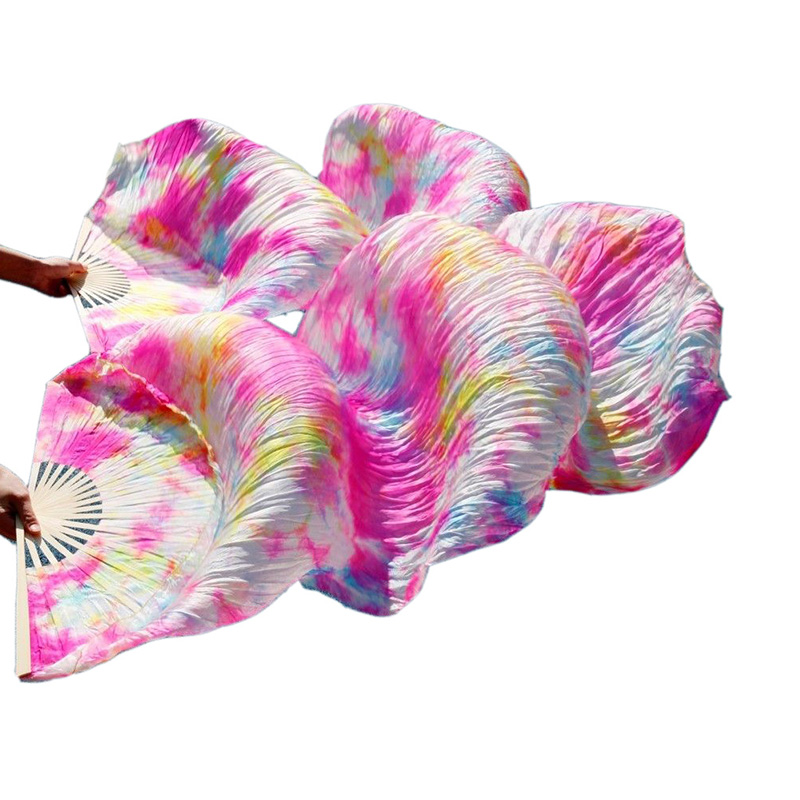 Hot Selling Women Tie dyed Silk Fan Veils High Quality Chinese Belly Dance Silk Fans