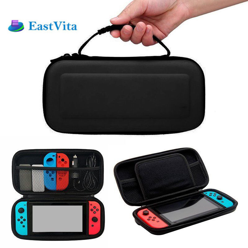 EastVita Portable Hard Protective Handle Carry Case Cover Zipper Protective Shell For Nintend Switch Black, Red, Blue r24