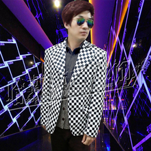 New arrival Men Singers New Fashion PU Leather Coat Stage Show Black White Plaid Slim Suit Jacket Clothing Costumes  S-5XL