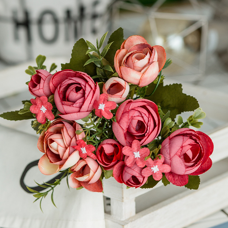 6 Heads Bouquet Rose Decor Artificial Flower Home Decor Imitation Fake Flower for Garden Plant Desk Decor Hand-Holding Flower (4)