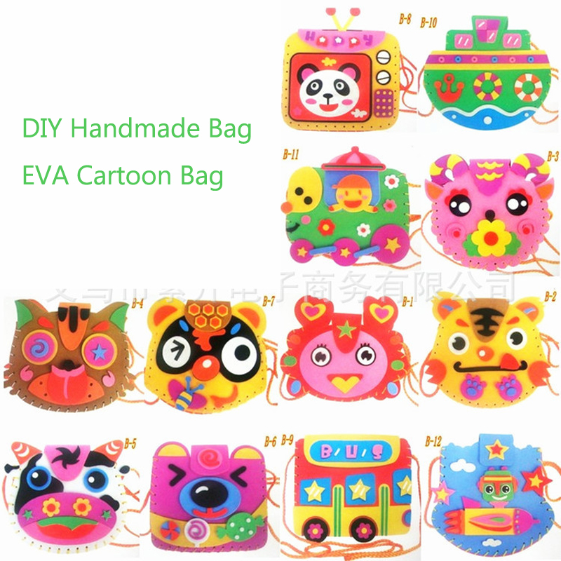 1 Set Multicolor EVA Foam Puzzles Lovely Animals Children Handmade Bags DIY Crafts For Kids Interactive Educational Toys ...