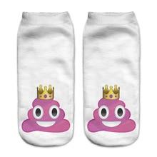 3D Printing Cartoon Pattern White Ankle Socks  Casual Hosiery Meias Women Socks Low Cut Ankle Sock