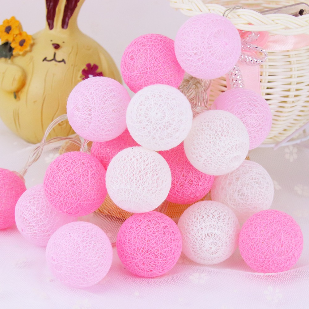 20 LED Pink Cotton Ball Holiday Decoration Lys LED String Light Fairy - Ferie belysning