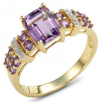Promotion New purple Jewelry Fashion Lady's Amethyst  Cz 18K Yellow Gold Filled Party Ring for women R003YPA