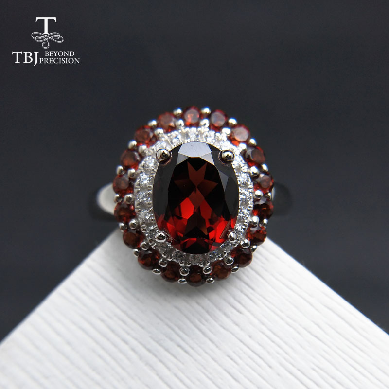 TBJ,High Quality Real Gemstone Women Silver Solid Ring , Natural Mozambique Garnet For Wife Anniversary Wedding Birthday Party