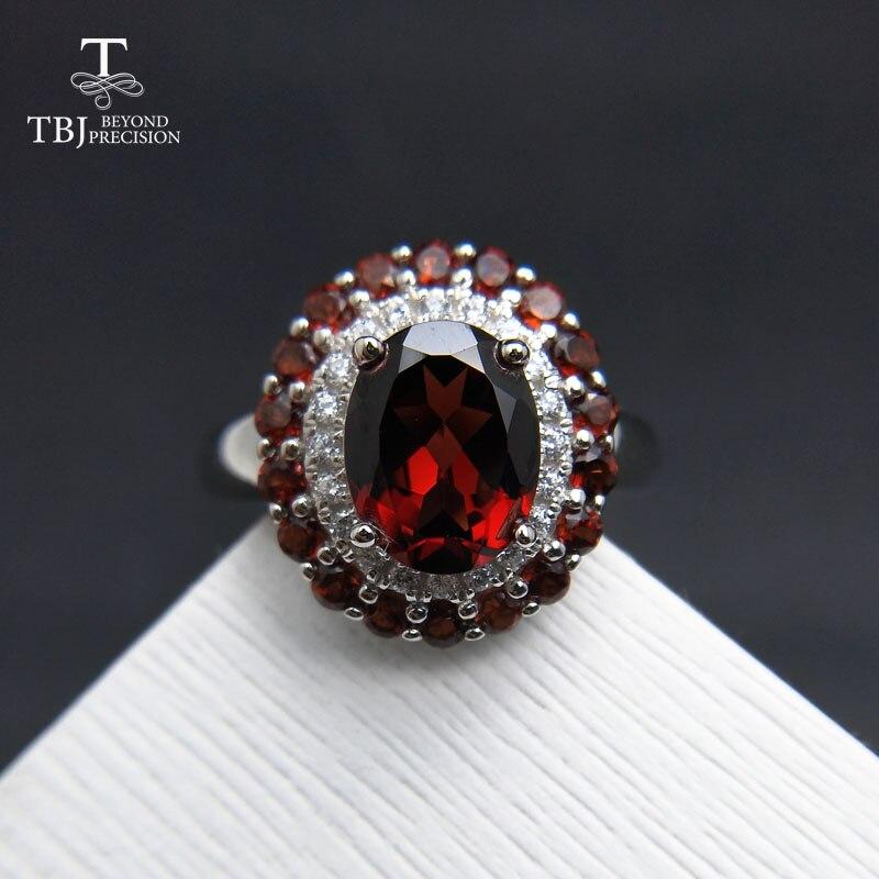 TBJ, wysokiej jakości prawdziwy kamień kobiety srebrny stałe pierścień, naturalne mozambiku granat dla żony rocznica ślub birthday party w Pierścionki od Biżuteria i akcesoria na  Grupa 1