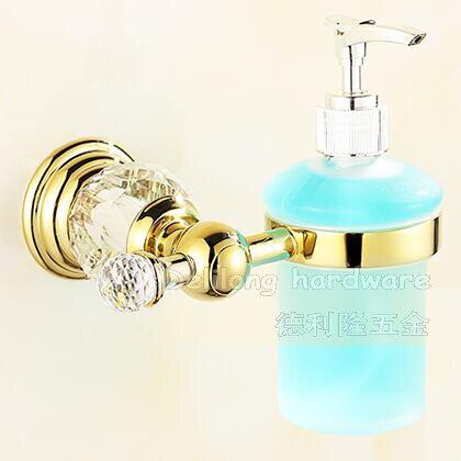 Bronze Material Gold Color Crystal Liquid Soap Dispenser Bathroom  Accessories