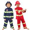 Пожарный равномерное мальчиков пожарный костюм пожарного, костюм производительность одежда дети хэллоуин косплей костюм пожарный спасательный жилет