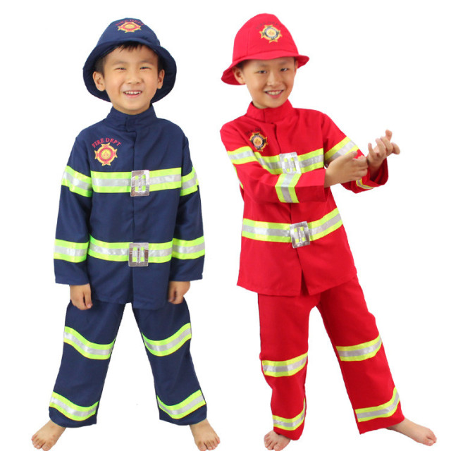 firefighter uniform boys fireman costume fireman suit performance wear kids halloween cosplay costume fire fighter life - Fireman Halloween
