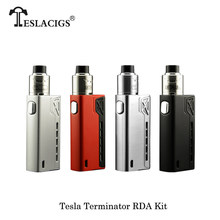 Authentic E-Cigarette Teslacigs Tesla Terminator 90w TC Box Mod stater Kit 0.1ohm RDA Tank Vape VS Subox Mini-C KBOX Vaporizer(China)