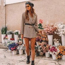 купить Women Casual Plaid Blazer Fashion Long Sleeve Coat Turn Down Collar Blazer по цене 1660.19 рублей