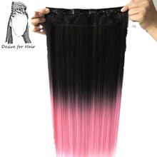 Desire for hair, 1 упаковка, 24 дюйма, 60 см, длинные, 130 г, шелковистые, прямые, Омбре, розовый цвет, синтетические, цельные, заколки для волос с 5 зажимами