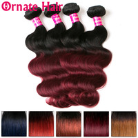 Ornate Hair Extension 100% Human Hair Body Wave Bundles Brazilian Hair Weave Bundles Pre Colored Ombre 27 99J Non Remy Hair Weft