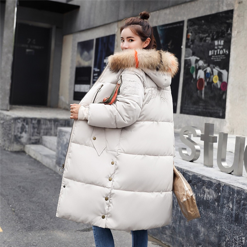 Winter Warm Coat Women Long Bread   Parka   Thick Cotton wadded Hooded Fur 2019 Fashion Casual Overcoat Padded Slim Plus Size Jacket