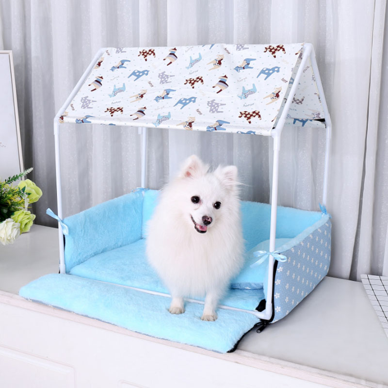 Washable Home Shape Dog Bed + Tent Dog Kennel Pet Removable Cozy House For Puppy Dogs Cat Small Animals Home Products thumbnail