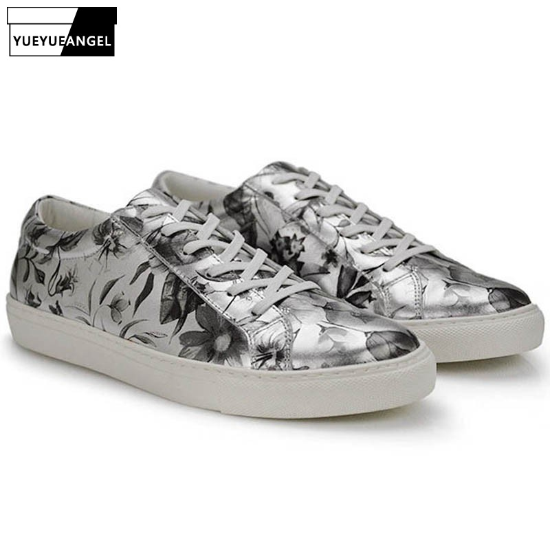 Здесь можно купить  Harajuku Floral Printed Real Leather Shoes Men Personality Comfort Casual Male Footwear Classic Lace Up Loafers Chaussure Homme  Обувь