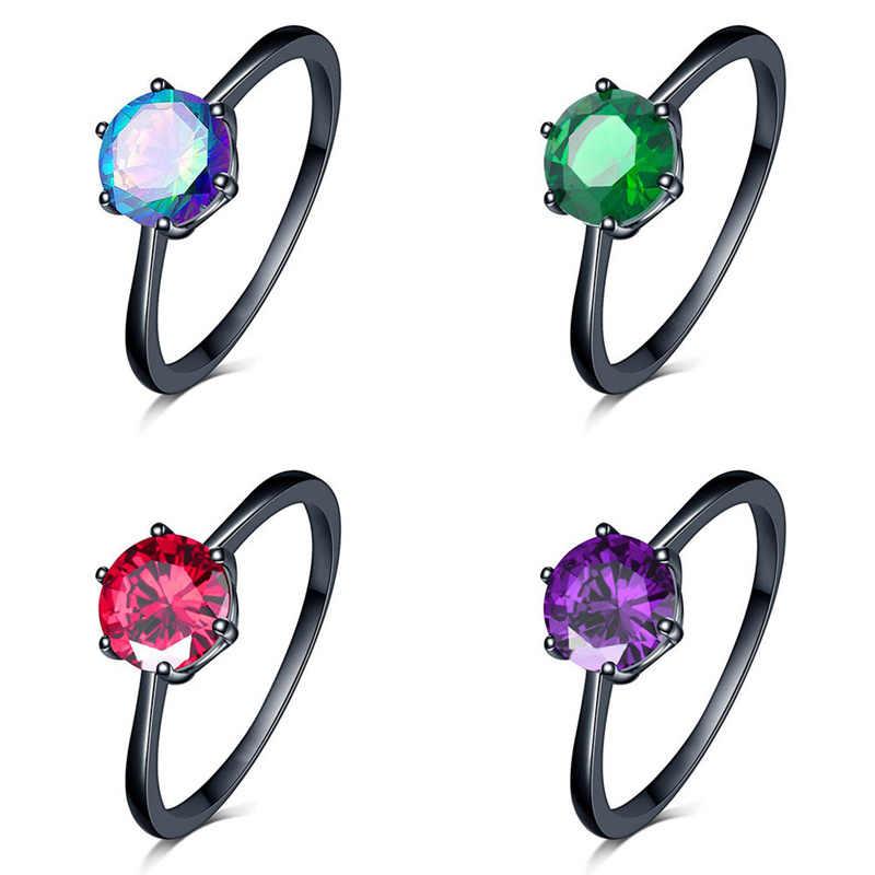 Nueva moda negro oro lleno joyería Vintage anillos de boda para mujeres encanto femenino anillo de Corazón Azul elegante anillo púrpura