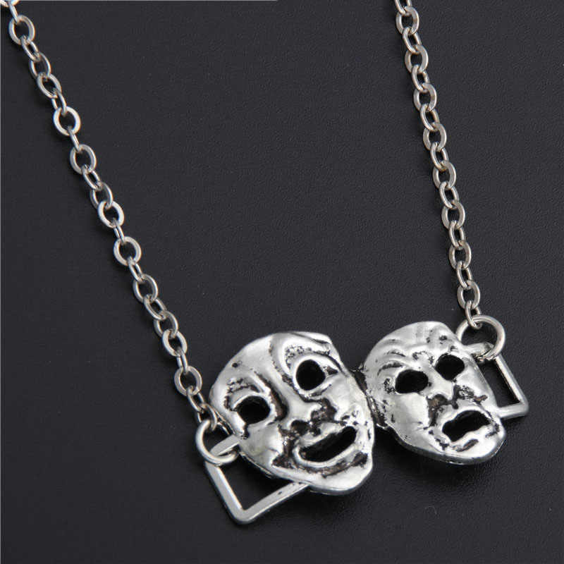 1pc Silver Comedy Tragedy Mask Drama Necklace Initial Necklace Theatre Gift Personalized Diy Jewelry E289