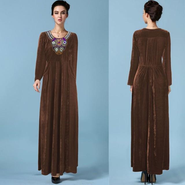 2015 мусульманин с длинным рукавом макси платье djellaba вышивка золотой бархат вечернее платье дубай халат арабские традиционные женская одежда