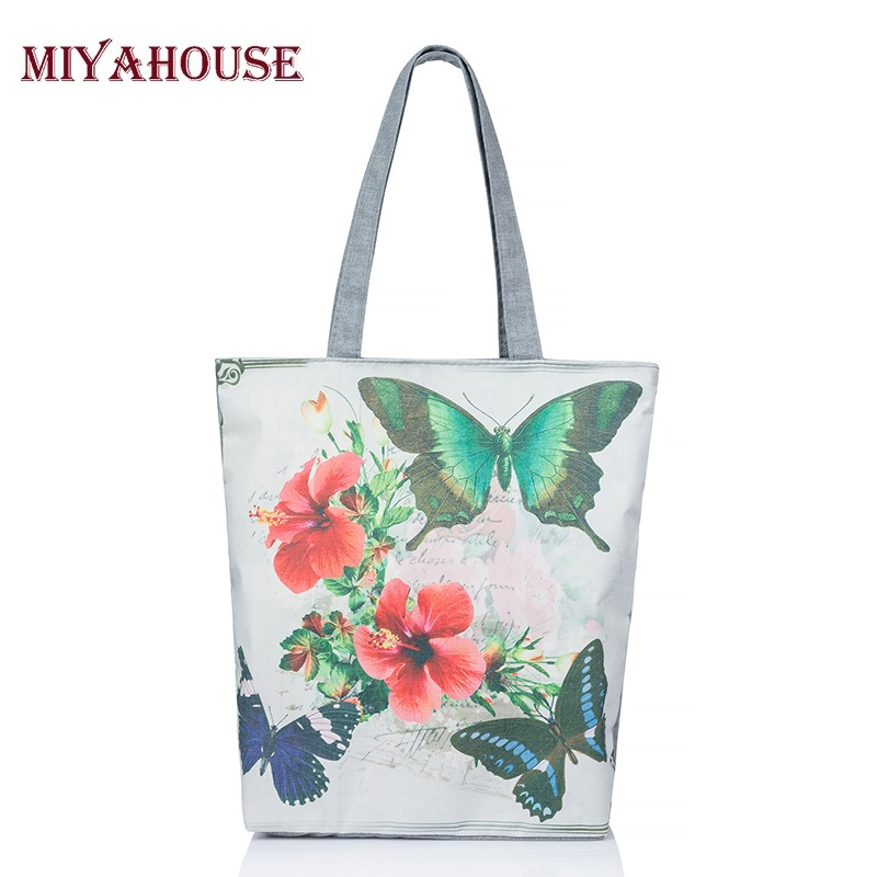 Butterfly Printed Casual Tote Large Capacity Female Handbags Single Shoulder Shopping Bags Daily Use Women Canvas Beach Bag