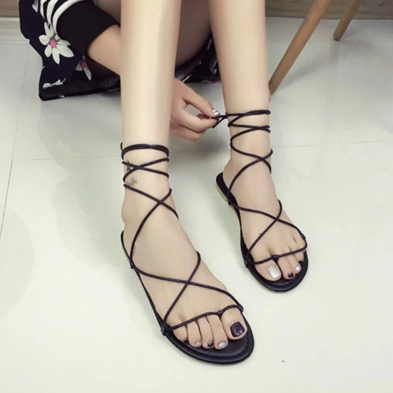 HTB19zYpXvWG3KVjSZFgq6zTspXaq Summer Women Gladiator Flat Heels Strappy Cross-tied Sandals Ladies Casual Solid Lace-Up Black Khaki Sandals Size 35-39