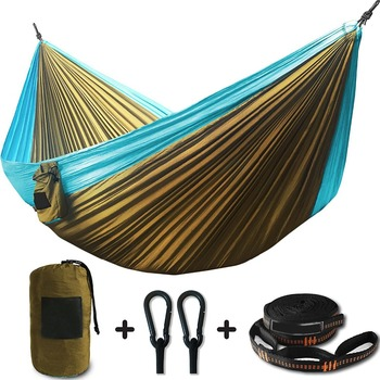 2 Person Double Camping Hammock XL 10 Foot Nylon Portable Heavy Duty Holds 700kg for Sitting Hanging Big Crazy Promotion Sale