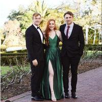 Abendkleider 2019 Dark Green Evening Dress Long Sexy Slit Criss Cross Back Prom Gowns Satin Floor Length Formal Dress Party