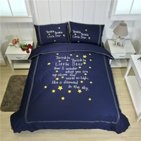 100% Cotton Embroidered stars Luxury bedclothes King Queen size bedcover Doona duvet cover sheet pillowcase 4pc bedding set