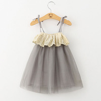Summer Mesh Dress Fashion Baby Sweet Dress Grey Ball Gown Simple Sling Dress Comfortable Fashion Baby Cute Style
