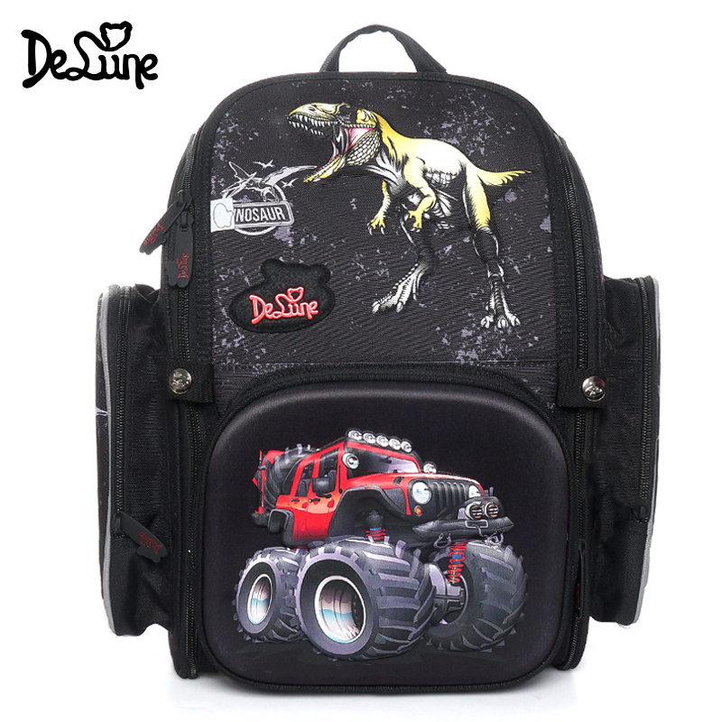 Delune 3D Dinosaur Orthopedic School Backpack for Children Flowers Print School Bag for Girls Boy Age