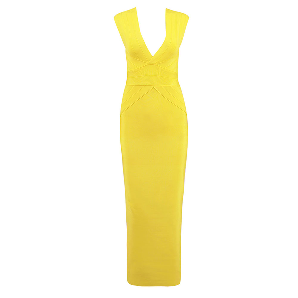 2018 Yellow Women New Elegant Cocktail Floor Length Bandage Dress Sleeveless Striped Bodycon Vestidos Celebrity Party Dress