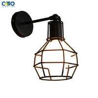 Lámpara de pared negra pintada de hierro Vintage para dormitorio, vestíbulo, almacén, luz de pared interior, soporte para lámpara E27, 110-240V, envío gratis