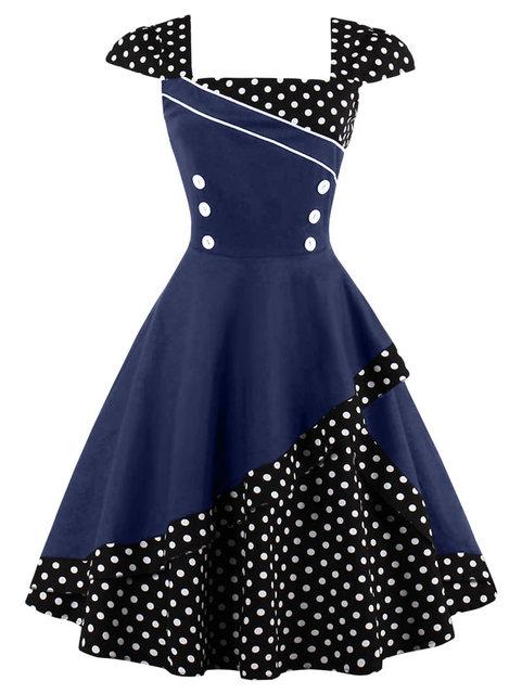 Vintage Rockabilly Dress Women Patchwork Polka Dots Button BLack 1950s  Elegant Retro Dresses Female Party Swing 1f3bcee70