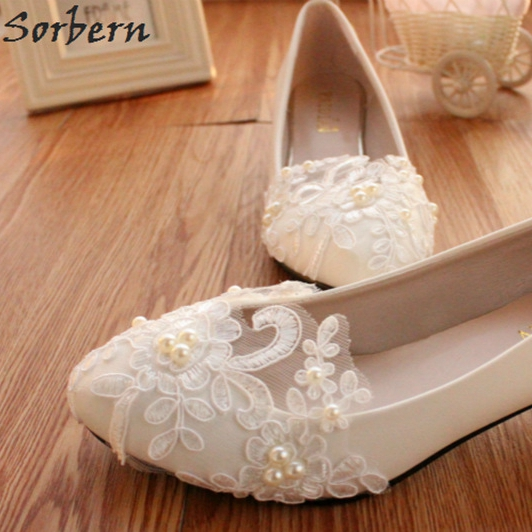 Detail Feedback Questions about Sorbern Elegant Lace Appliques Beads 2018  Wedding Shoes Pointed Toe White Flower Bridal Shoes Flat Heels Ladies Shoes  Low ... f75f89a4e48d