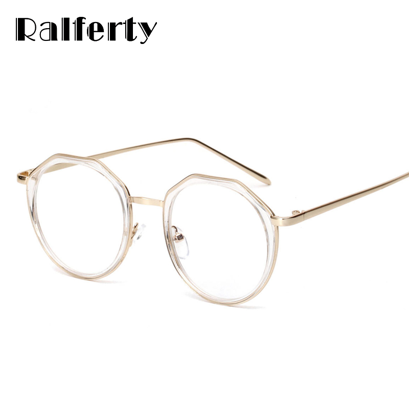 3c1dac8294 Ralferty Trendying Transparent Glasses Frame Women Clear Eyeglass Female  Myopia Degree Optical Frames Gold Round Oculos