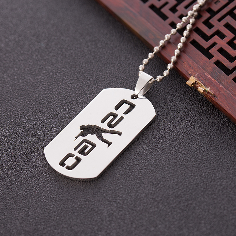 Stainless Steel Game CS Necklace Circle Round Symbol Sniper Gun Shot Tag Figure Character Pendant Chain Necklaces for Women Men