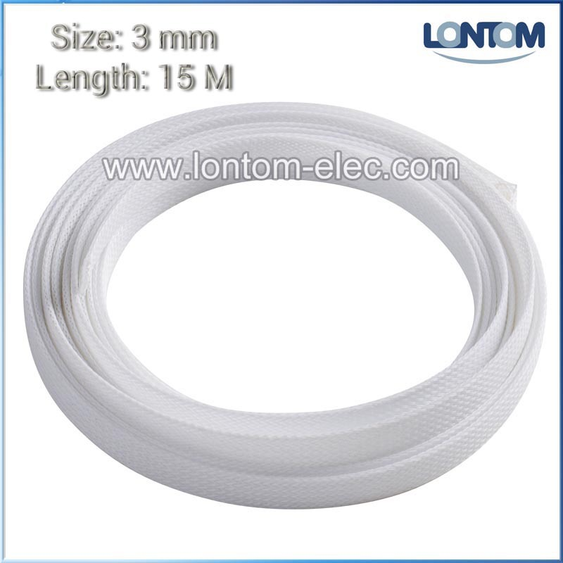 3mm 15 Meters White PET Expanding Braided Cable Wire Sheathing Sleeve Sleeving Harness