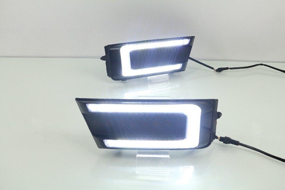 eOsuns LED daytime running light DRL fog lamp for skoda octavia 2016 17, with yellow turn signals, wireless switch