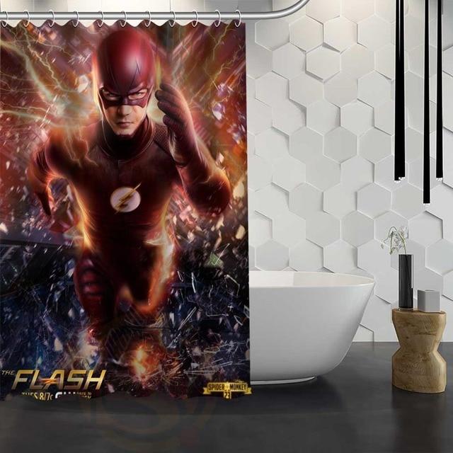Custom The Flash Shower Curtain With Hooks Fabric Bathroom Eco Friendly Waterproof